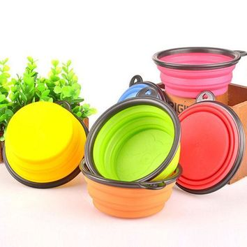 ICIK272 Hot!  Silicone Travel Dog Bowl Collapsible Premium Quality Food Water Pet Travel Bowl