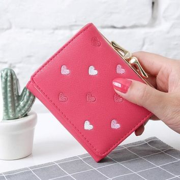 Small Women's Wallet with Hearts and Snap Coin Purse