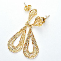 14k Filigree Earrings Yellow Gold Pierced Dangle 3.6 Grams 14kt Wedding Jewelry