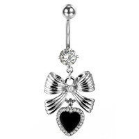 BodyJ4You®  Bow Black Heart Dangle Belly Button Ring