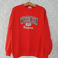 Vintage 1980s Wisconsin Badgers + Crewneck Sweatshirt