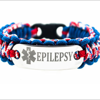 Custom Thin Medical Alert Paracord Bracelet Kids Id Pa