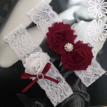Vintage Wine And White Wedding Garter Set,Wine Colored Bridal Garter Belt,Plus Size Country Wedding Garter Set With Ribbon MG245