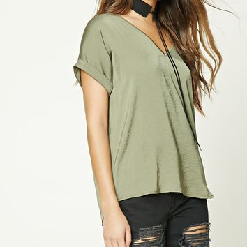 Sateen Dolman-Sleeve Top