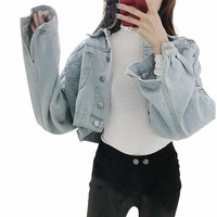 2018 Fashion Women Autumn Casual Jeans Coats Fashion Loose Batwing Sleeve Cropped Short Denim Jacket
