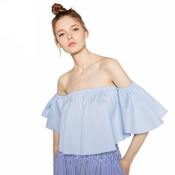 2016 NEW Summer Fashion Trend Women's Smock Top Off Shoulder Cute Brief Ruffles Girl's  Structured Bardot Top Short Blouse