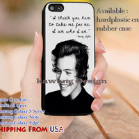 I am Who I am Harry Styles Quotes iPhone 6s 6 6s+ 5c 5s Cases Samsung Galaxy s5 s6 Edge+ NOTE 5 4 3 #music #1d dl12