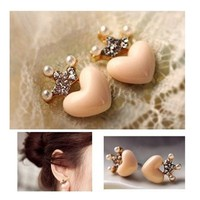 HuaYang Korean Fashion Lady Girls Rhinestone Crown Love Heart Stud Earrings