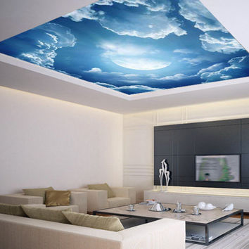 Ceiling STICKER MURAL air moon blue clouds decole poster