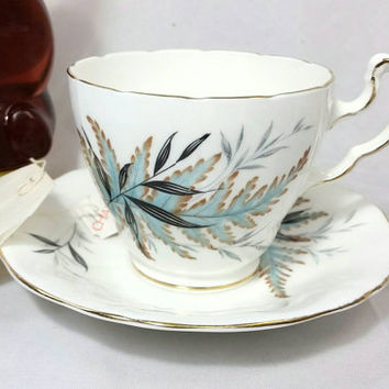 Vintage Mayfair Bone China Made in England Teacup and Saucer/Turquoise Black Gold Leaf Tea Cup/Tea Time Cup and Saucer