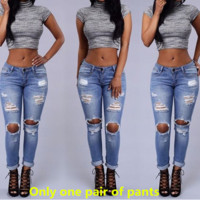 Summer fashion casual hole type boyfriend style pencil feet pants