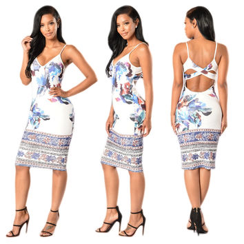 White  Floral Print Strappy Dress