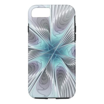 Elegance, Modern Blue Gray White Fractal Flower iPhone 8/7 Case