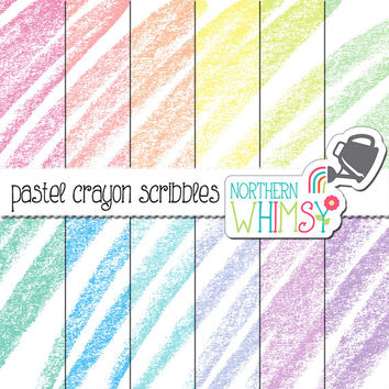 Pastel Crayon Digital Paper - crayon scribble scrapbook paper in pink, peach, yellow, mint, baby blue, lilac and lavender - commercial use