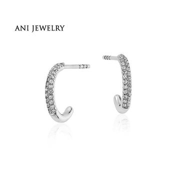 14KT White Gold 0.19 CT Certified I/S1 Natural Diamond Single Hoop Circle Earring