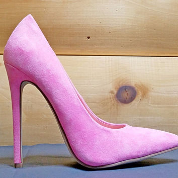 "Alba Ricky Pink Micro Suede Pointy Toe Pump Shoe 4.5"" Stiletto Heels 6- 11"