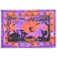 Colorful Tie Dye Fairy Land Tapestry, Small Hippie College Dorm Bedding Bedspread on RoyalFurnish.com