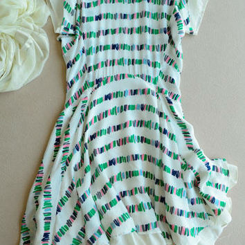 100% Silk White Dress with Prints - Knee Length - Asymmetric Skirt - Summer Dress with Sleeves
