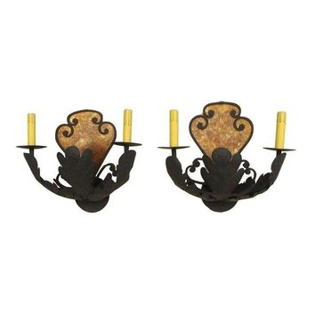 Pre-owned Art Deco Wrought Iron Sconces - A Pair