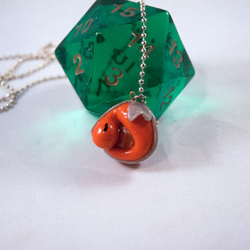 Orange and Silver Gem Dragon Pendant - Polymer Clay Necklace