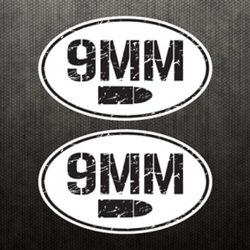 2X 9MM Ammo Can Vinyl Decal Bumper Sticker Car Gun Handgun Oval Sticker Bullet