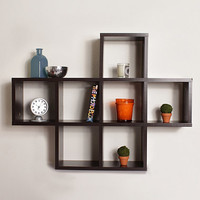 Walnut Grain Finish 7 Cubby Contemporary Shelving Unit