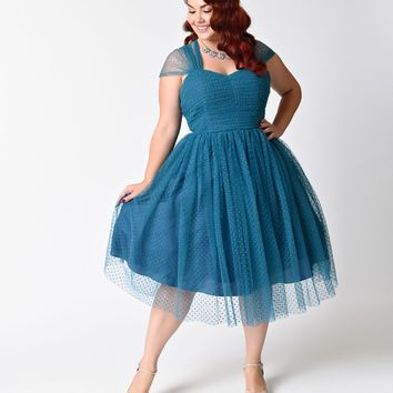 Unique Vintage Plus Size Teal Swiss Dot Garden State Mesh Cocktail Dress