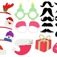 2017 23pcs New Year's Eve Party Photo Booth Props Party Accessories Glass Cap Moustache Lips with Stick, No Diy, Christmas Gifts, Photo Masks / Christmas Party Decoration Favors
