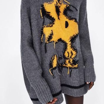 Thick Knitted Tassled Woodstock Character Oversized Sweater