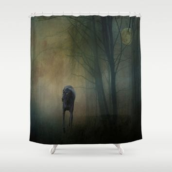 The Hound In The Woods Shower Curtain by Theresa Campbell D'August Art