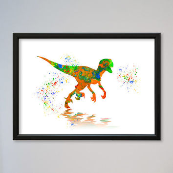 Velociraptor Watercolor Print Nursery Art Print Home Decor Wall Decor Animal Art Poster Raptor Dinosaur Poster