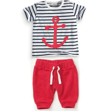 Fashion 2016 summer baby boy clothes baby clothing set cotton short sleeved stripe t-shirt + pants kids 2pcs suit