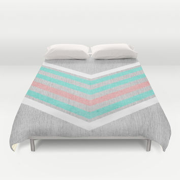 Teal, Pink and White Chevron on Silver Grey Wood Duvet Cover by Tangerine-Tane