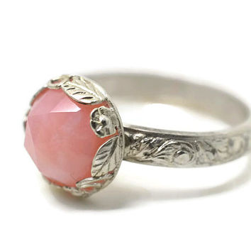 Soft Pink Opal Ring, Floral Engagement Ring, Renaissance Ring, Andean Opal Ring, Natural Gemstone Ring