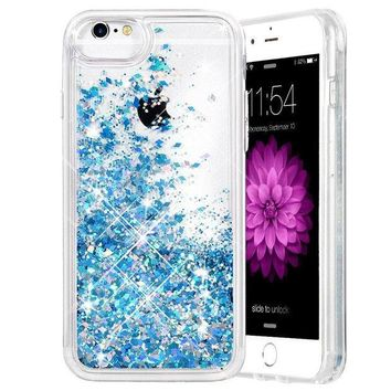 ONETOW iPhone 6/6S/7/8 Case, Caka iPhone 6S Glitter Case [With Tempered Glass Screen Protector] Bling Flowing Floating Luxury Glitter Sparkle TPU Bumper Liquid Case for iPhone 6/6S/7/8 (4.7') - (Blue)