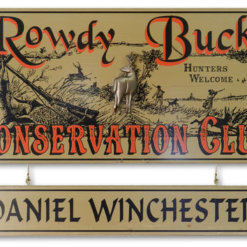 Personalized Rowdy Buck Vintage Style Sign