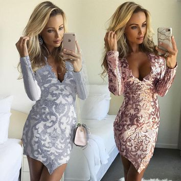 2018 New Fashion Sexy Women V-neck Bandage Bodycon Evening Sexy Party Long Sleeve Lace Short Mini Dress