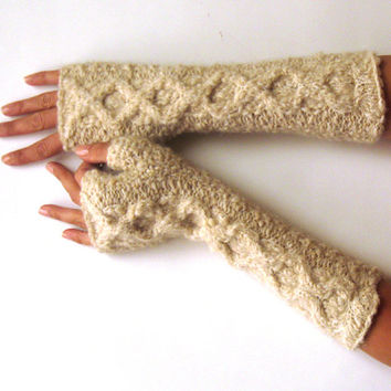 Cream Alpaca Fingerless Gloves Inverted Cable Fingerless Mittens Wool Arm Warmers Warm Hand Warmers Winter Gloves Soft Mitts - KG0066