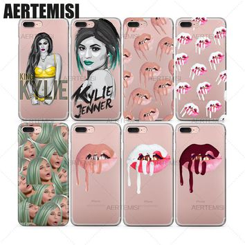 Phone Cases Kylie Jenner Lipstick Lips Cosmetics Kimoji Emojis Clear TPU Case Cover for Apple iPhone 5 5s SE 6 6s 7 Plus