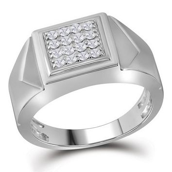 10kt White Gold Mens Round Diamond Square Cluster Faceted Fashion Ring 1/3 Cttw