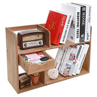 Freestanding Rustic Style Wood 4 Shelf Compartment Storage Organizer Rack / Desk & Counter Top Bookshelf