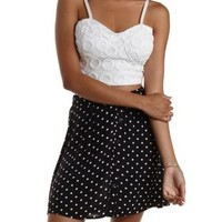 White Cropped Macrame Bustier Top by Charlotte Russe