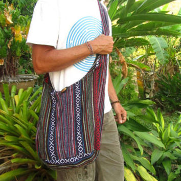 Men's Large Brown Tribal Cotton Shoulder Buddha Bag Hobo Sac Hipster Festival | eBay