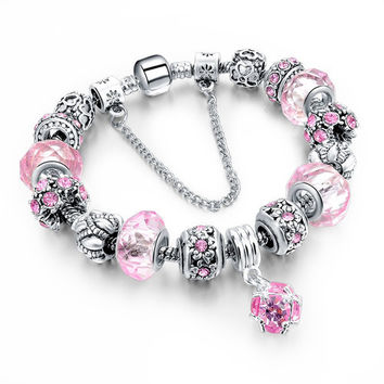 Fashion 925 Silver Crystal Charm Bracelets