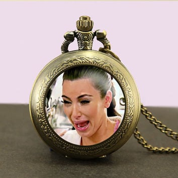 Kim Kardashian Locket necklace,Kim Kardashian Pocket Watch Necklace,fob watch locket necklace