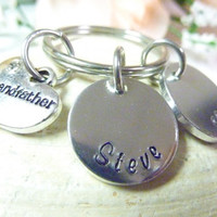 Grandfather Gift Handstamped Grandpa keychain Personalized Grandad Keyring Hand stamped custom keyring