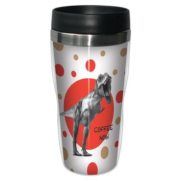 Coffee Now Dino Travel Mug - Premium 16 oz Stainless Lined w/ No Spill Lid