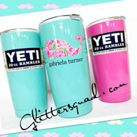 Limited  * Authentic  20oz Yeti  Ramblers *  Rambler Tumblers Personalized Whale or Circle Monogram / Tumbler / Travel Cup / Coffee Mug