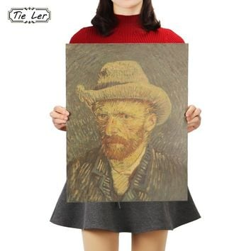 TIE LER Van Gogh Famous Oil Painting Kraft Paper Bars Cafe Drawing Self Portrait Poster Retro Home Decor Wall Sticker 47x36cm