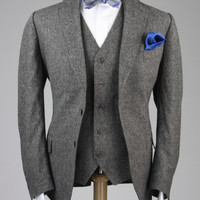 New Gray Wool Tweed Fleck Custom  3 Piece Suit 46 L
